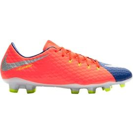 Buty piłkarskie Nike Hypervenom Phelon Iii Fg 852556 409 pomarańczowe czarny, fioletowy, pomarańczowy