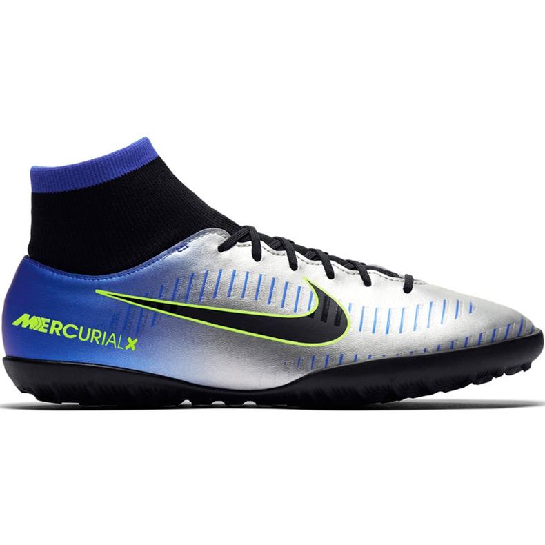 Buty piłkarskie Nike Mercurial X Victory 6 Df Neymar Tf 921514 407 niebieskie zielony, niebieski, szary/srebrny