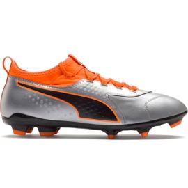 Buty piłkarskie Puma One 3 Lth Fg szaro-pomarańczowe 104743 01 szare wielokolorowe