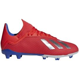 Buty piłkarskie adidas X 18.3 Fg Jr czerwone BB9371 wielokolorowe