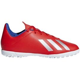 Buty piłkarskie adidas X 18.4 Tf Jr czerwone BB9417 wielokolorowe