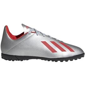 Buty piłkarskie adidas X 19.4 Tf Jr srebrne F35348 srebrny czerwone