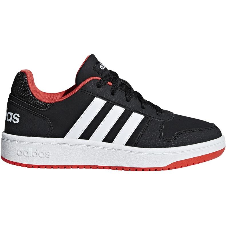 Buty dla dzieci adidas Hoops 2.0 K czarno-czerwone B76067 białe czarne