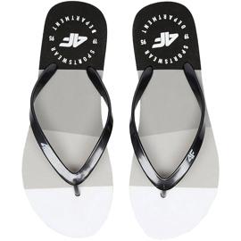 Klapki damskie 4F czarno-białe H4L20 KLD004 97S czarne