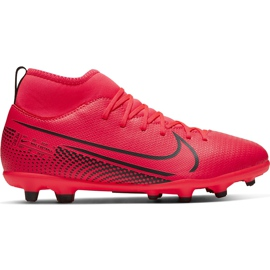 Buty piłkarskie Nike Mercurial Superfly 7 Club FG/MG Junior AT8150 606 czerwone czerwone