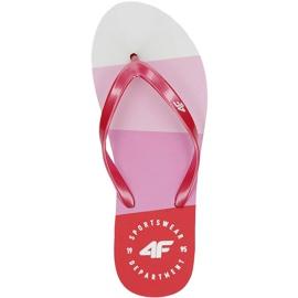 Klapki damskie 4F różowe H4L20 KLD004 54S białe