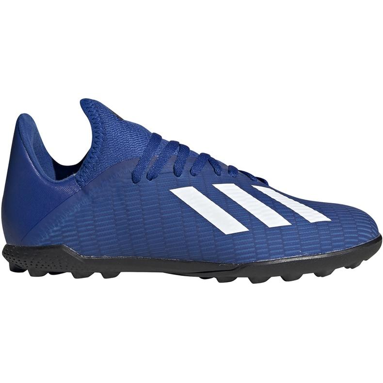 Buty piłkarskie adidas X 19.3 Tf Junior EG7172 niebieskie niebieskie