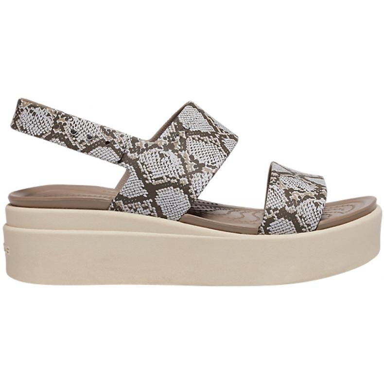 Crocs sandały damskie Brooklyn Low Wedge W multi stucco 206453 93T beżowy