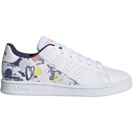 Buty dla dzieci adidas Advantage K biało-kolorowe EG2000 białe wielokolorowe