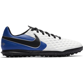 Buty piłkarskie Nike Tiempo Legend 8 Club Tf Junior AT5883 104 białe niebieskie