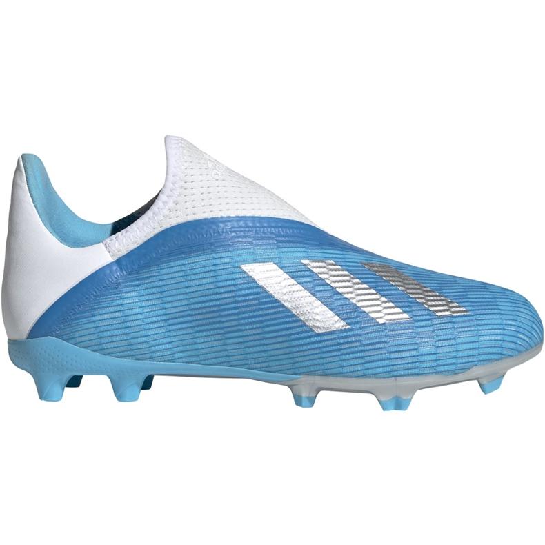 Buty piłkarskie adidas X 19.3 Ll Fg Junior niebieskie EF9114 niebieski,biały,srebrny