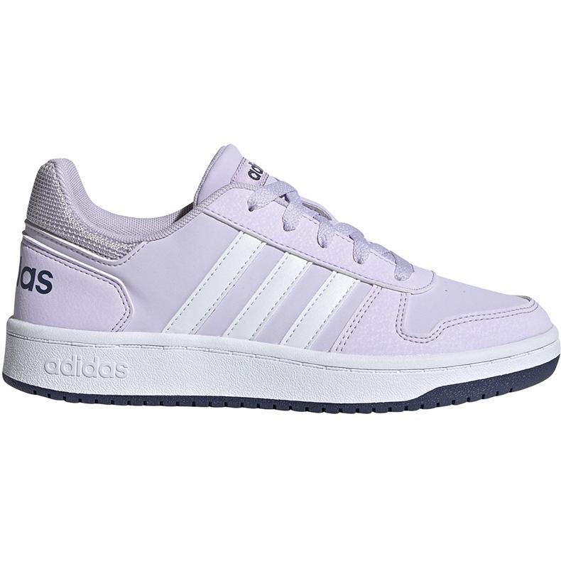 Buty dla dzieci adidas Hoops 2.0 K jasnofioletowe EG9075