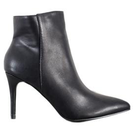Sweet Shoes Seksowne Botki Z Eko Skóry czarne