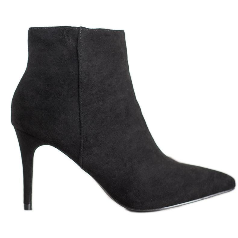 Sweet Shoes Seksowne Zamszowe Botki czarne
