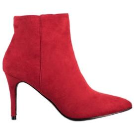 Sweet Shoes Seksowne Zamszowe Botki czerwone
