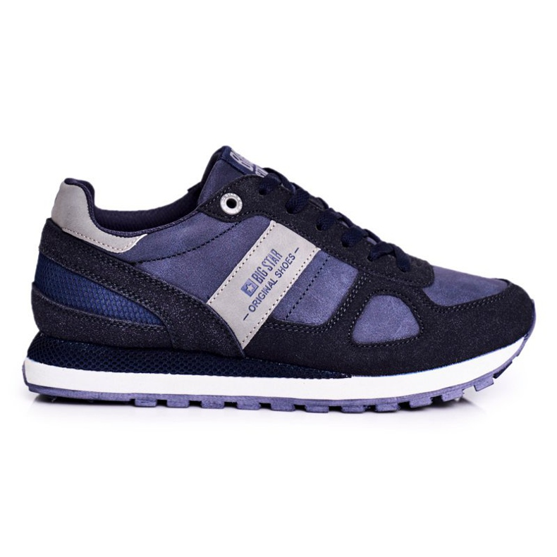 Damskie Sportowe Obuwie Sneakersy Big Star Granatowe GG274676 niebieskie szare
