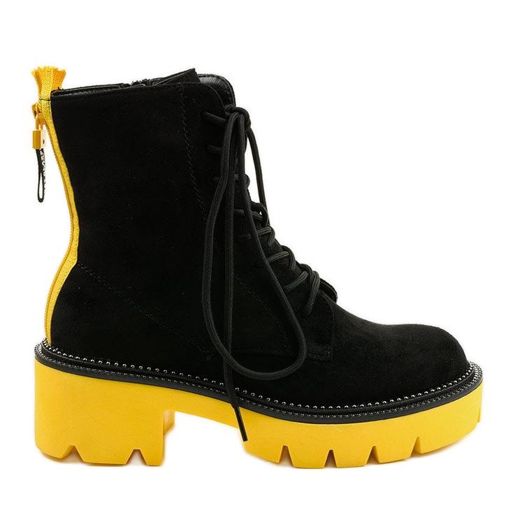 Czarne zamszowe botki sznurowane Centrifugal żółte