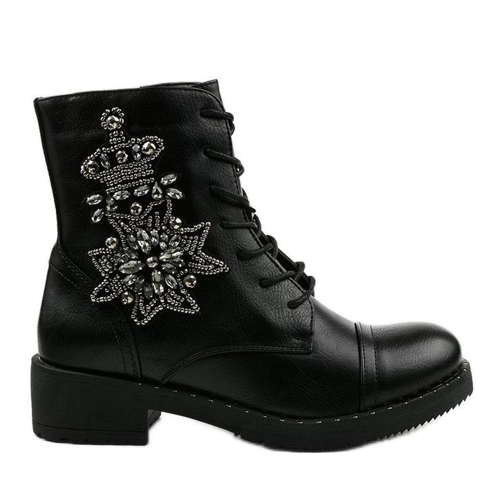 Czarne botki ze zdobieniami Shyvia M620 Black