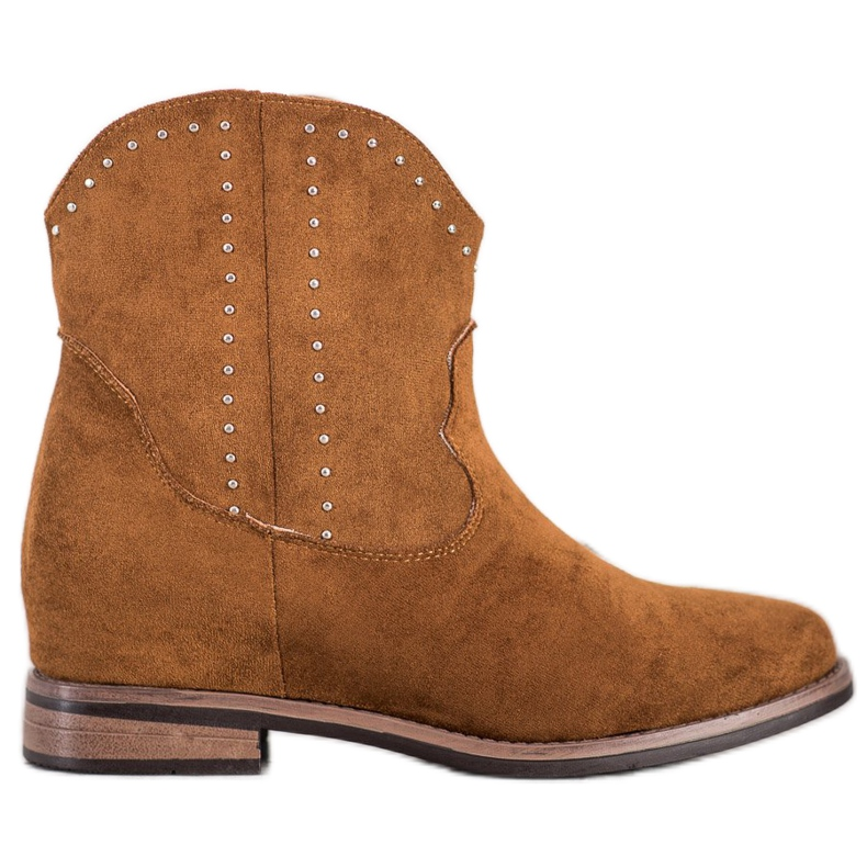 Ideal Shoes Modne Brązowe Kowbojki
