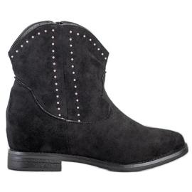 Ideal Shoes Modne Czarne Kowbojki