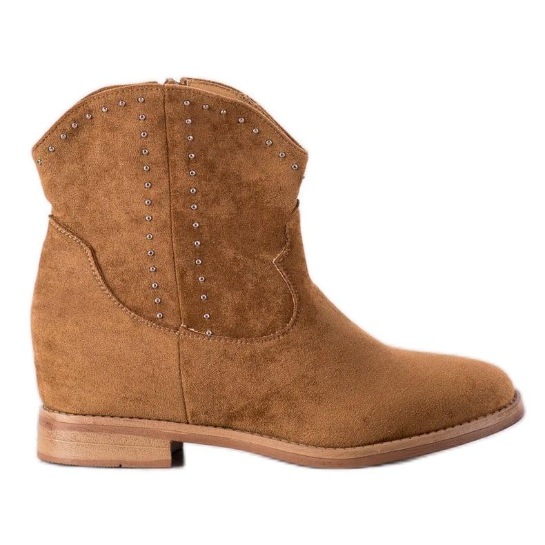 Ideal Shoes Modne Camelowe Kowbojki brązowe