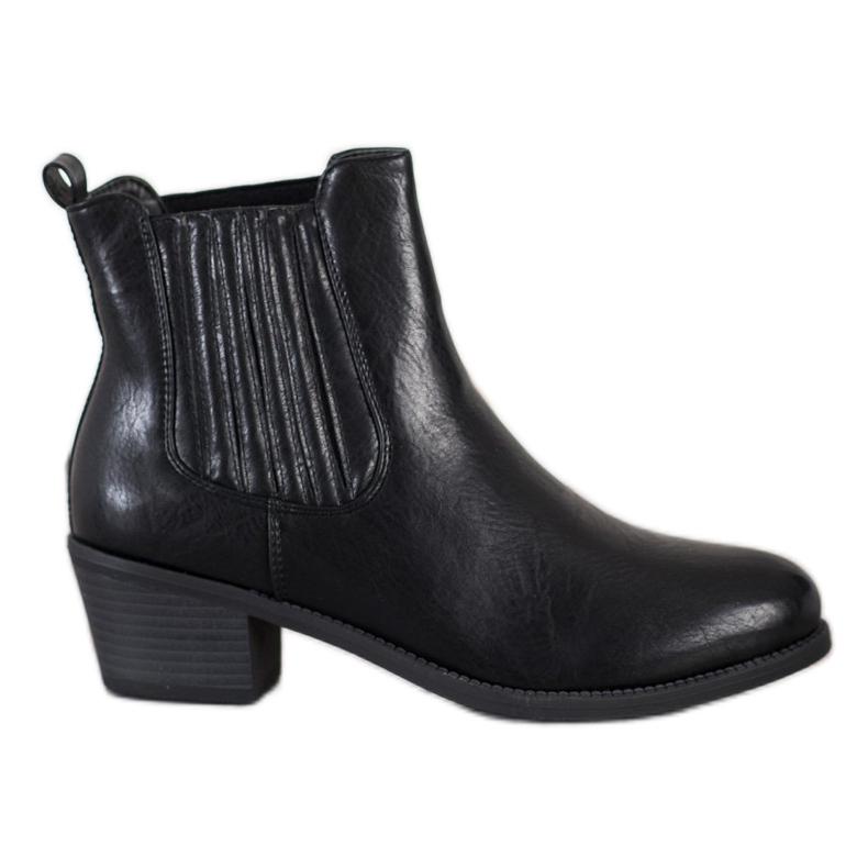Ideal Shoes Klasyczne Wsuwane Botki czarne
