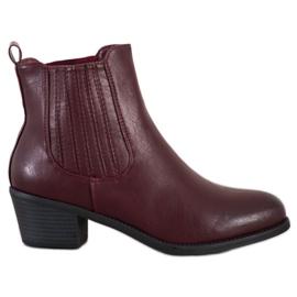 Ideal Shoes Klasyczne Wsuwane Botki czerwone