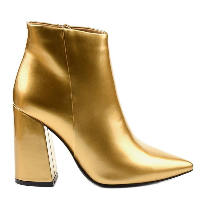Złote botki na słupku suwak Adrietina złoty