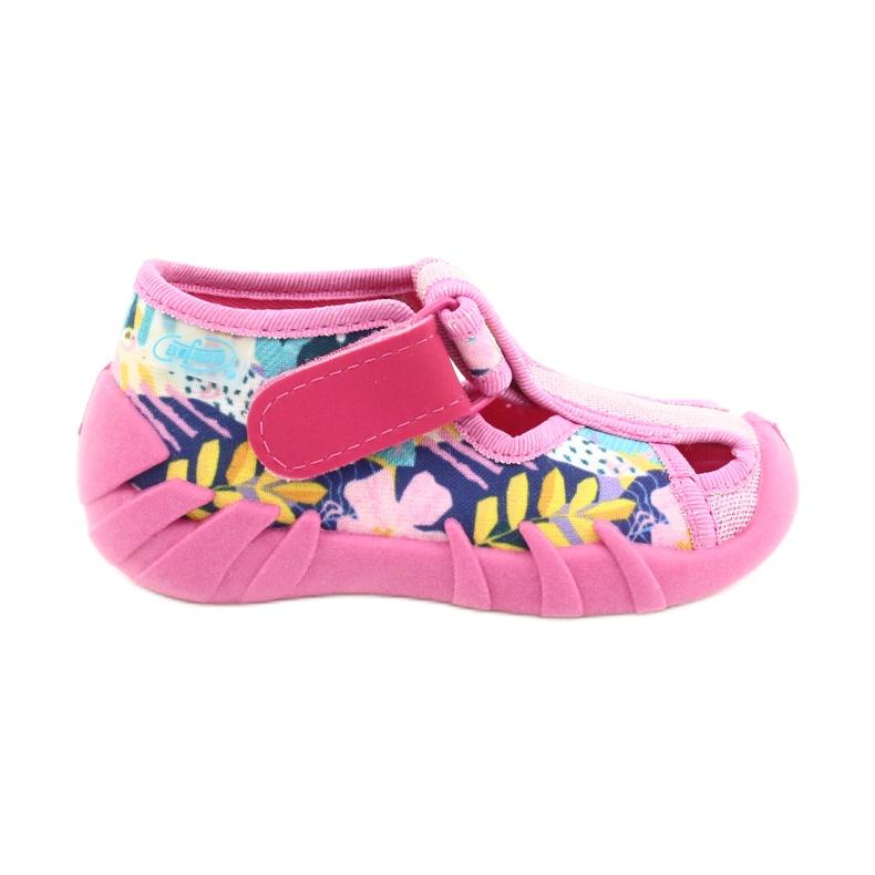 Befado obuwie dziecięce 190P097 niebieskie różowe srebrny żółte