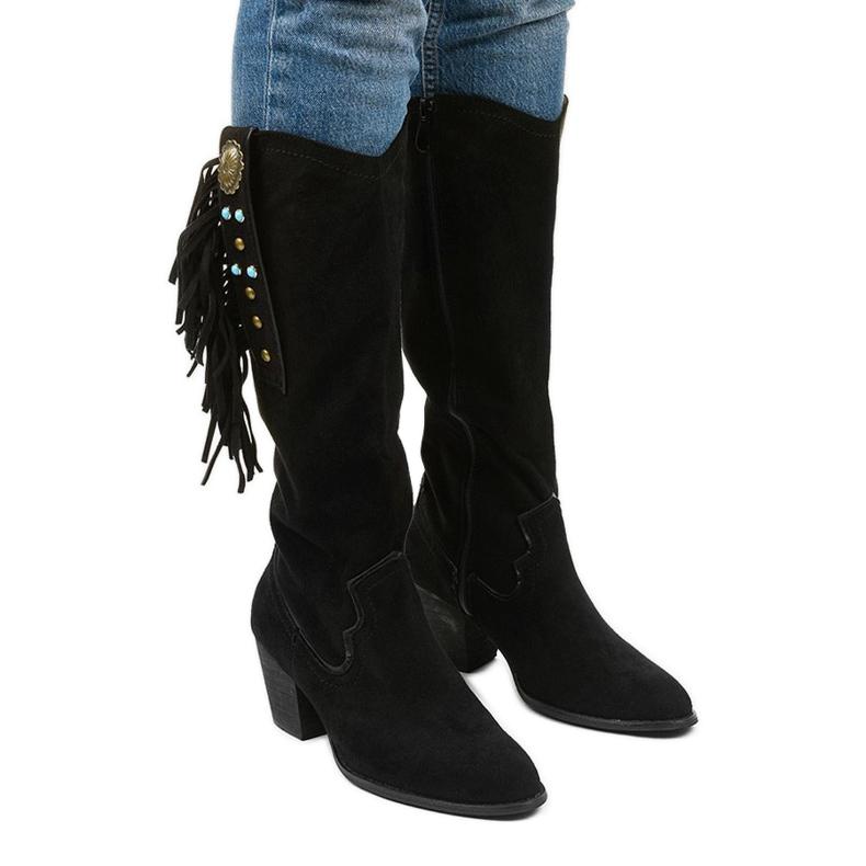 Czarne zamszowe kozaki kowbojki Lamimeila