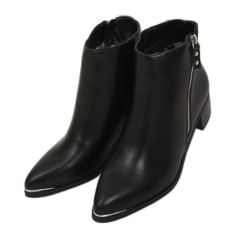Botki migdałowe noski licowe czarne 88168 Black