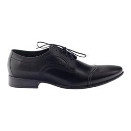 Czarne Półbuty skórzane buty męskie Pilpol 1262