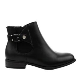 Czarne płaskie botki z gumką i suwakiem 20Y8035-1