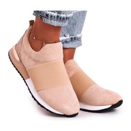 FRBS Sportowe Damskie Buty Sneakersy Slip-on Beżowe Say Something beżowy