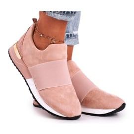 FRBS Sportowe Damskie Buty Sneakersy Slip-on Różowe Say Something beżowy