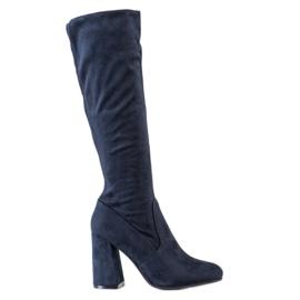 Sweet Shoes Stylowe Granatowe Kozaki niebieskie