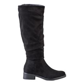 Sweet Shoes Zamszowe Kozaki czarne