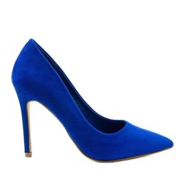 Niebieskie klasyczne szpilki zamszowe Hyirnar