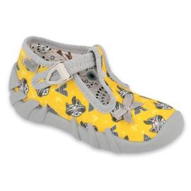 Befado obuwie dziecięce 110P393 szare żółte