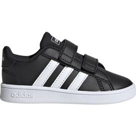Buty dla dzieci adidas Grand Court I czarno białe EF0117 czarne