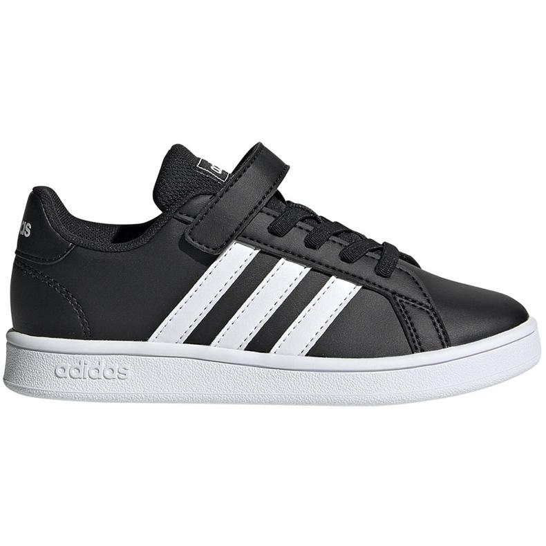 Buty dla dzieci adidas Grand Court C czarno-białe EF0108 czarne