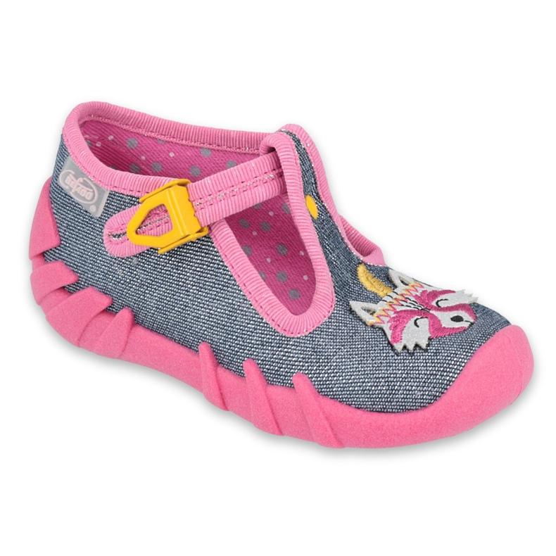 Befado obuwie dziecięce 110P395 różowe szare
