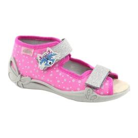 Befado żółte obuwie dziecięce 342P016 różowe srebrny szare