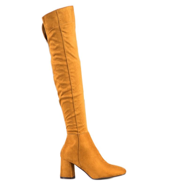 Sweet Shoes Kozaki Z Szeroką Cholewką żółte