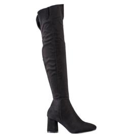 Sweet Shoes Kozaki Z Szeroką Cholewką czarne