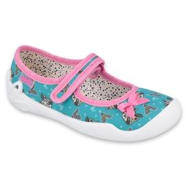 Befado obuwie dziecięce 114X427 niebieskie różowe