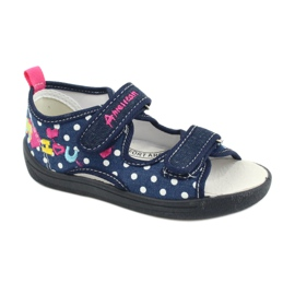 American Club Kapcie sandałki buty dziecięce American wkładka skórzana granatowe różowe