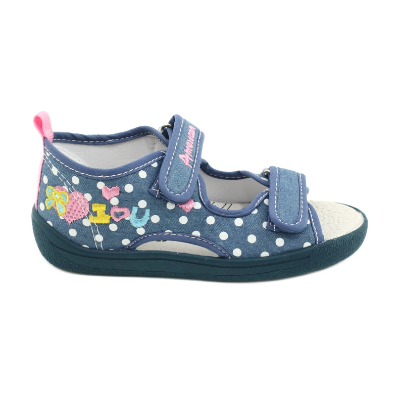 American Club Kapcie sandałki buty dziecięce American wkładka skórzana białe niebieskie różowe