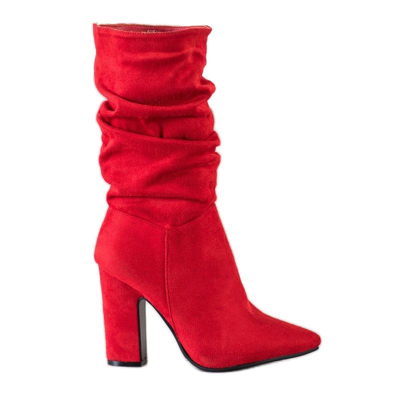 Sweet Shoes Krótkie Czerwone Kozaczki