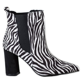 Corina Botki Zebra Print białe czarne